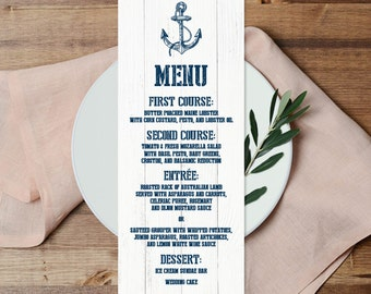 Nautical Menu Card / Wedding Menu / Nautical Planks / Nautical Navy Anchor / Whitewashed Wood ▷ Printable File {or} Printed & Shipped