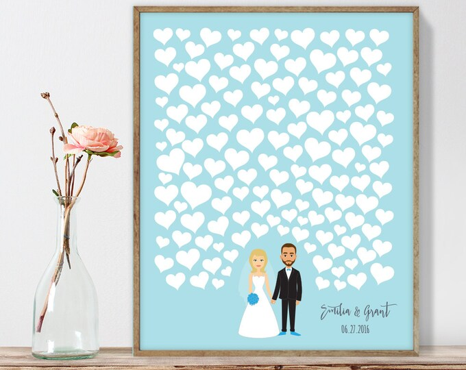 Wedding Guest Book Alternative Poster DIY  / Personalized Couple Illustration / Hearts on Blue / Custom Illustration ▷ Printable PDF