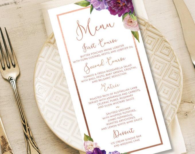 Purple Menu Card / Wedding Menu / Purple Flowers, Anemone, Peony, Ranunculus, Rose Gold / Fall Wedding ▷ Printed Menus {or} Printable File