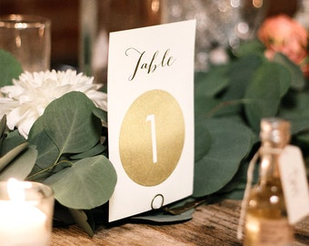 Gold Table Numbers, Wedding Table Name 5x7s for Gold and Ivory Wedding, Faux Metallic Gold > PRINTED Table Number Cards, Double-Sided