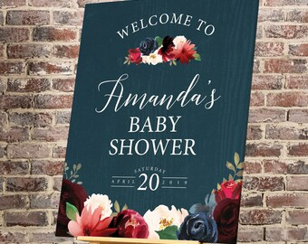 Rustic Baby Shower Sign, Burgundy Navy Boho Baby Shower Welcome Canvas Print > PRINTED Sign for Baby Shower {or} Printable Sign