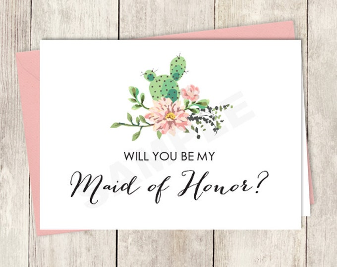 Rustic Will You Be My Maid Of Honor Card DIY Printable / Wedding Card / Cactus Succulent, Coral Flower Wreath Fiesta ▷ Instant Download