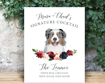 Custom Dog Drink Sign, Pet Portrait  Signature Cocktail Sign, Blush Burgundy Navy Boho Wedding Bar Sign Canvas > PRINTED Sign or Printable