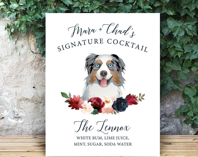 Featured listing image: Custom Dog Drink Sign, Pet Portrait  Signature Cocktail Sign, Blush Burgundy Navy Boho Wedding Bar Sign Canvas > PRINTED Sign or Printable