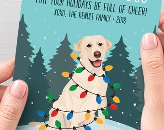 Yellow Lab Christmas Card, Funny Christmas Cards with Custom Dog Portrait, Custom Pet Portrait Card, Labrador Retriever Lover Xmas Card