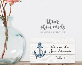 Wedding Place Cards DIY Printable PDF / Nautical Planks, Anchor / Name Card / Food Card / Tent Card / Guest Seating Card ▷ Instant Download