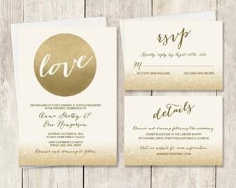 Gold Wedding Invitation Set / Metallic Gold and Cream / Champagne Gold / Wedding Invite Set ▷ Printed Wedding Invitations {or} Printable