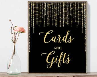 Cards and Gifts Sign DIY / Card Table / Gold Wedding Sign / Great Gatsby, Bokeh Light / Black and Gold Calligraphy ▷Instant Download JPEG