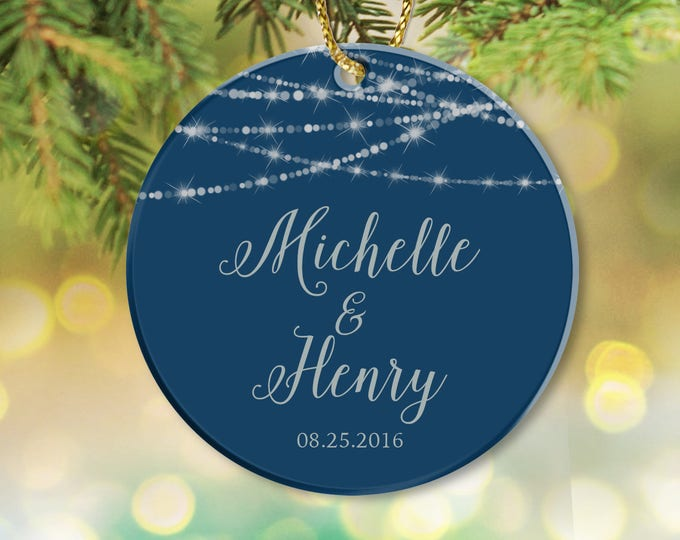 Navy and Silver Christmas Ornament / Engagement Newlywed Couple Wedding Gift, Housewarming, First Christmas Gift Bokeh ▷ Ceramic {or} Metal