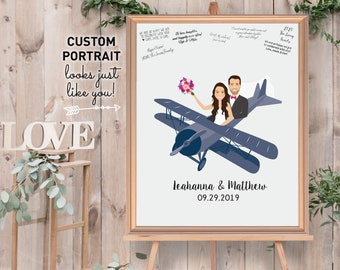 Navy Wedding Guest Book Alternative, Airplane Pilot and Bride Cartoon Portrait, Wedding Guest Book Canvas