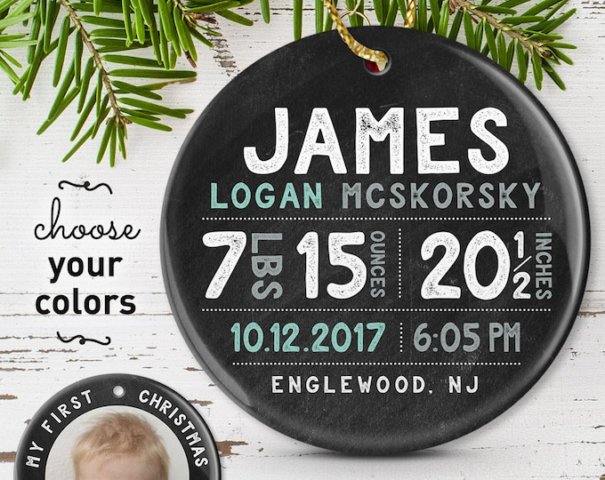 Personalized Ornament for Baby Boy, My First Christmas Ornament, New Baby Birth Stats, Under 50 Gift for Grandparents