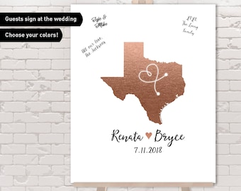 Texas Guest Book Alternative / Wedding Map / Faux Metallic Rose Gold Map Guestbook / Guest Sign In ▷ Canvas, Paper, Board {or} Printable