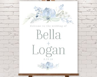 Boho Wedding Welcome Sign / Dusty Blue Flowers, Bohemian Greenery, Boho Wildflowers, Blue Gray ▷ Printable File {or} Printed & Shipped