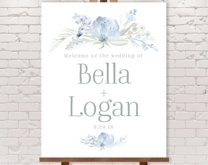 Boho Wedding Welcome Sign / Dusty Blue Flowers, Bohemian Greenery, Boho Wildflowers, Blue Gray ▷ Printable File {or} Printed & Shipped