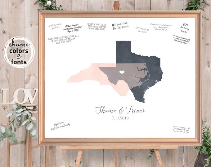 Featured listing image: Wedding Guest Book Alternative, Watercolor Guestbook Map, Blush & Gray States Map Guest Book
