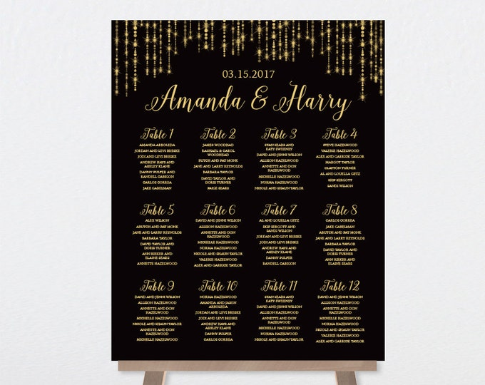 Wedding Seating Chart Sign / Great Gatsby Inspired Bokeh String Light Sparkle / Black and Gold  ▷ Printable File {or} Printed & Shipped