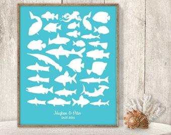 Wedding Guest Book Alternative / Nautical Sea Aquarium Guest Book / Fish Sharks / Turquoise Blue / Wedding Sign ▷Printable File {or} Printed