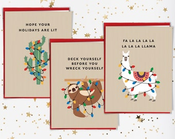 Funny Christmas Card Set, Cute Notecard Set of 15 Cards with Envelopes, Llama Card, Sloth Card & Cactus Card Holiday Note Cards