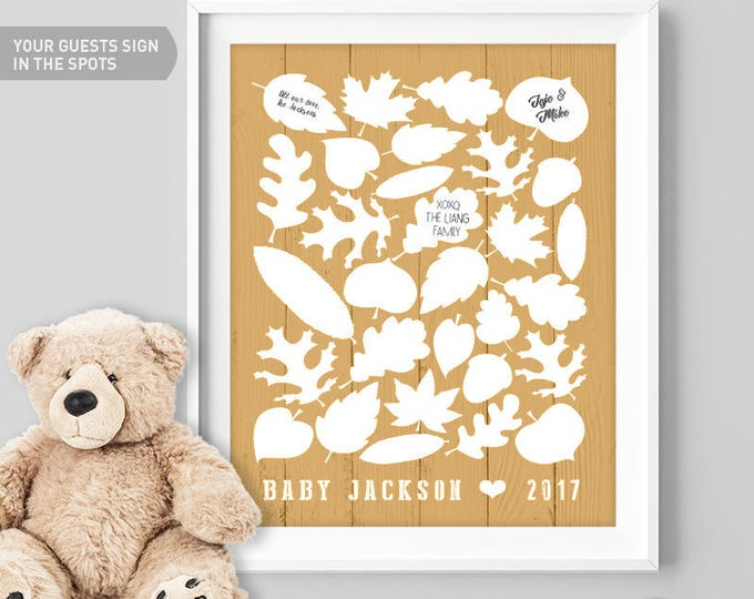 Gold Baby Shower Guest Book Alternative / Fall Leaves, Maple Leaf, Woodland Guest Book / Fall Baby Shower ▷ Canvas, Paper {or} Printable