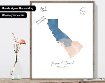 Watercolor Wedding Guest Book Alternative / Love Map: California & South Carolina States Map / Blue and Blush Pink Map Canvas or Framed
