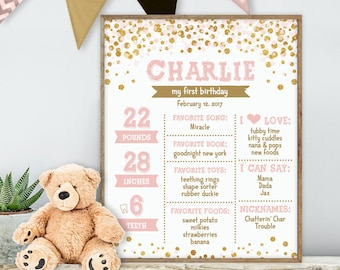 Blush and Gold Glitter First Birthday Sign / Pink Confetti, Polka Dots / Baby Facts, Baby Stats Sign ▷ Printable File {or} Printed & Shipped
