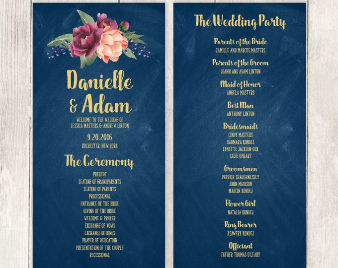 Marsala Wedding Program / Schedule / Peonies, Berries, Navy Chalkboard, Blush Ranunculus, Gold ▷ Printable File {or} Printed & Shipped
