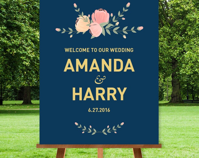 Pastel Wedding Welcome Sign / Floral Welcome / Floral Pastel, Peach And Pink Flower / Gold and Navy ▷ Printable File {or} Printed & Shipped