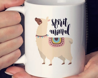 Llama Mug, Spirit Animal Mug, Girlfriend Gift Idea, Cool Llama Stocking Stuffer, Trendy Gift For Her, Christmas Gift under 25