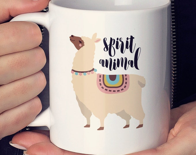 Llama Mug, Spirit Animal Mug, Girlfriend Gift Idea, Cool Llama Stocking Stuffer, Trendy Gift For Her, Christmas Gift under 25