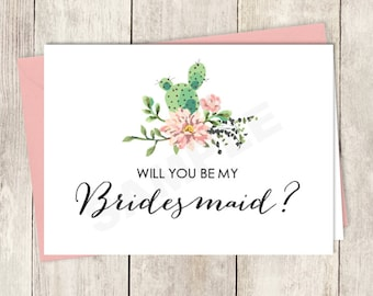 Rustic Will You Be My Bridesmaid Card DIY Printable / Wedding Card / Cactus Succulent, Coral Flower Wreath Fiesta ▷ Instant Download