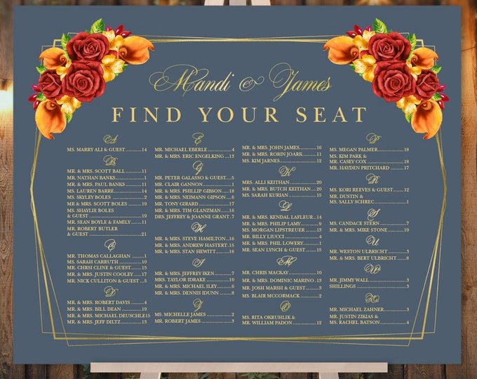 Alphabetical Seating Chart Sign / Red Rose Flower, Orange Calla Lilly, Floral, Gold Geometric ▷ Printed Paper, Canvas {or} Printable