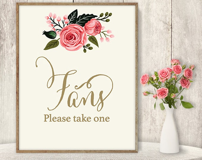 Fans Sign / Please Take One Sign / Floral Wedding Sign DIY / Watercolor Flower Poster Printable / Calligraphy, Pink Rose ▷ Instant Download