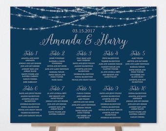 Wedding Seating Chart Sign / Great Gatsby Festive Bokeh String Light Sparkle / Navy and Silver Sign ▷ Printable File {or} Printed & Shipped