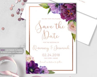 Purple Save The Date Card / Purple Flowers, Anemone, Peony, Ranunculus, Rose Gold ▷ Printed Heavy Paper {or} Printable