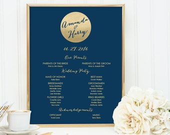 Navy and Gold Wedding Welcome Sign DIY / Wedding Party Sign, Bridal Party, Program / Metallic Gold ▷ Printable File {or} Printed & Shipped