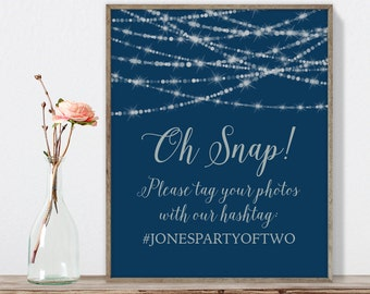 Elegant Wedding Hashtag Sign / Instagram Sign / Festive Bokeh String Light / Navy and Silver ▷ Printable File {or} Printed & Shipped