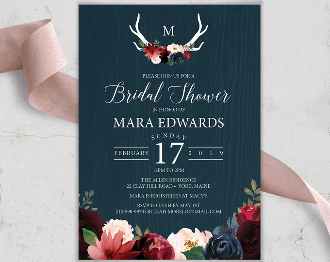 Rustic Bridal Shower Invitation, Burgundy Navy Boho Shower Invite, Marsala Blush Flowers and Antlers, PRINTED INVITATION or printable invite