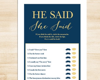 Elegant Bridal Shower Game DIY // Gold Calligraphy on Navy // He Said, She Said Printable PDF // Wedding Shower Game ▷ Instant Download