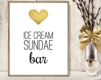 Ice Cream Sundae Bar Sign DIY / Wedding Dessert / Yellow Gold Heart, Watercolor Heart Sign / Printable PDF Wedding Sign ▷ Instant Download