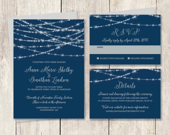 Elegant Wedding Invitation Suite / Bokeh String Light Sparkle / Navy and Silver / Invite Set ▷ Printed Wedding Invitations {or} Printable