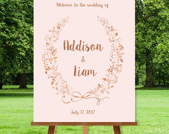 Rose Gold Wedding Welcome Sign / Metallic Rose Gold and Blush Wildflower Wreath  / Custom Sign ▷ Printable File {or} Printed & Shipped