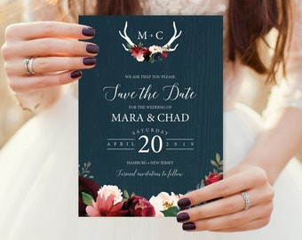 Rustic Save The Date, Burgundy Navy Boho Wedding Card, Marsala Blush Flowers and Antlers, PRINTED STDs or printable cards