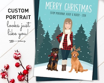 Unique Christmas Card, Custom Portrait Holiday Cards with Dog Illustration, Printed Cards with Envelopes, Custom Family Portrait