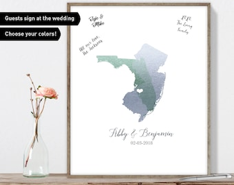 Guest Book, Wedding, Wedding Guestbook, Wedding Sign, Guest Book Canvas, Personalized Gift, Anniversary Gift, Florida Map, New Jersey, Ideas