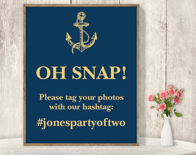 Wedding Hashtag Sign / Instagram Sign / Anchor, Nautical Sign, Gold and Navy, Gold Calligraphy ▷ Printable File {or} Printed & Shipped