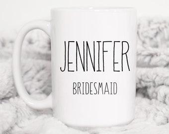 Personalized Bridesmaid Mug, Minimalist Bridal Party Gift Idea under 25, Custom Name Bride Tribe Coffee Mug, Black & White Farmhouse