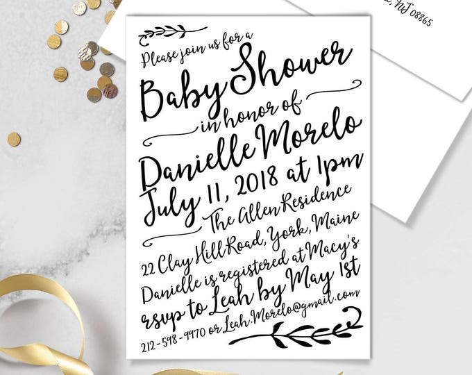 Boho Calligraphy Baby Shower Invitation / Modern Romantic Invite / Neutral Black & White, Monochromatic ▷Printed Invitations {or} Printable