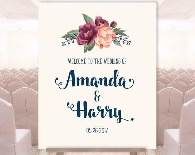Wedding Welcome Sign / Burgundy Peony Berry Bouquet, Peach Blush Pink Ranunculus, Fall Wedding ▷ Printable File {or} Printed & Shipped