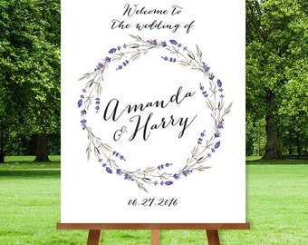 Rustic Wedding Welcome Sign / Floral Welcome / Purple Flowers, Lavender Wreath / Custom Sign ▷ Printable File {or} Printed & Shipped