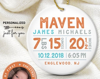 First Christmas Ornament, Baby Photo Ornament, Baby Boy Birth Stats, Personalized Gift for New Parents